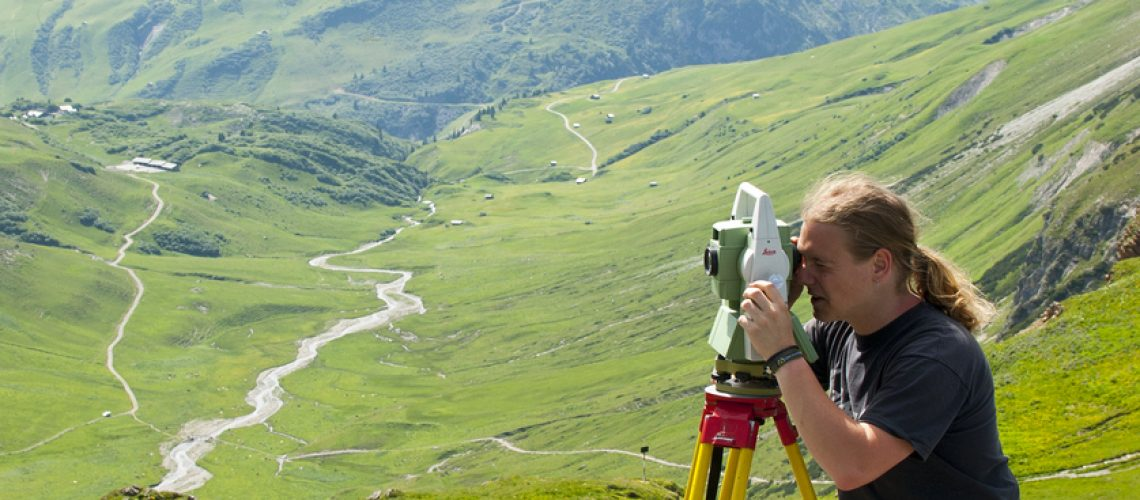 Surveyor with a Leica total station